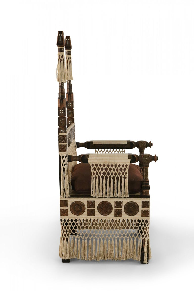 Walnut Carlo Bugatti Italian Art Deco Mahogany and Copper Fringed Throne Chair For Sale