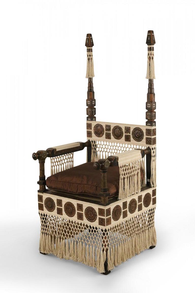 Carlo Bugatti Italian Art Deco Mahogany and Copper Fringed Throne Chair For Sale 1