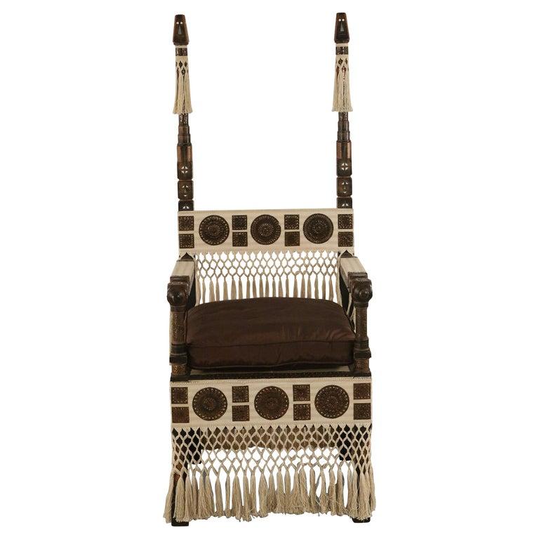 Carlo Bugatti Italian Art Deco Mahogany and Copper Fringed Throne Chair For Sale