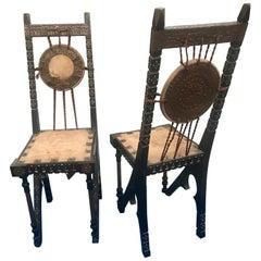 Carlo Bugatti Pair of Chairs in Walnut Parchment Copper Bone, Italy, 1900