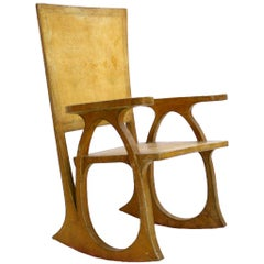 Carlo Bugatti Parchment Paper And Wood Sculptural Chair, Italy 30s