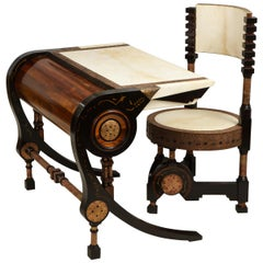 Carlo Bugatti-Style Writing Desk with Chair