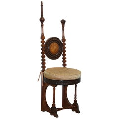 Carlo Bugatti Throne Chair Solid Hardwood Hand Carved Wood Rare Find, circa 1900