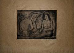 Amanti (Lovers) - Original Etching by Carlo Carrà - 1927