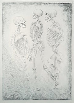 Dance of the Skeletons -  Original Lithograph by Carlo Carrà - 1944