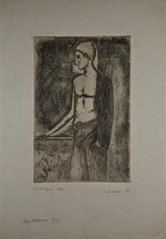 Dopo il Bagno - Original Etching by Carlo Carrà - 1924