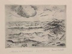 Marina in Burrasca - Original Etching by Carlo Carrà - 1924