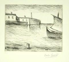 Seascape - Original Etching by Carlo Carrà - 1964