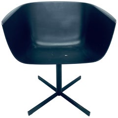 "Carlo Colombo Postmodern ""Strip"" Matte Black Swivel Chair for Poliform"