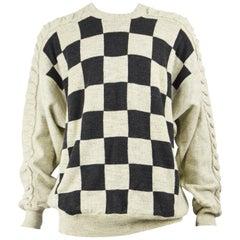 Carlo Colucci Men's Vintage Cream Checkerboard Pattern Cable Knit Sweater