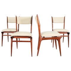 Midcentury Wood and Leatherette Chairs Carlo de Carli Italy 1950s Set of 4