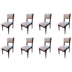 Carlo de Carli Chairs Set of Eight Reupholstered with Vintage Fabric, Italy 1950