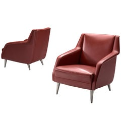 Carlo de Carli Classic Red Lounge Chairs