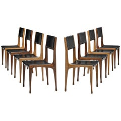 Carlo de Carli for Cassina Bicolor Set of Eight Dining Room Chairs Model '693'