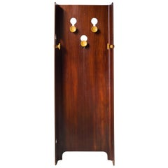 Carlo de Carli Midcentury Walnut Yellow Wall Coat Rack, Italy, 1960