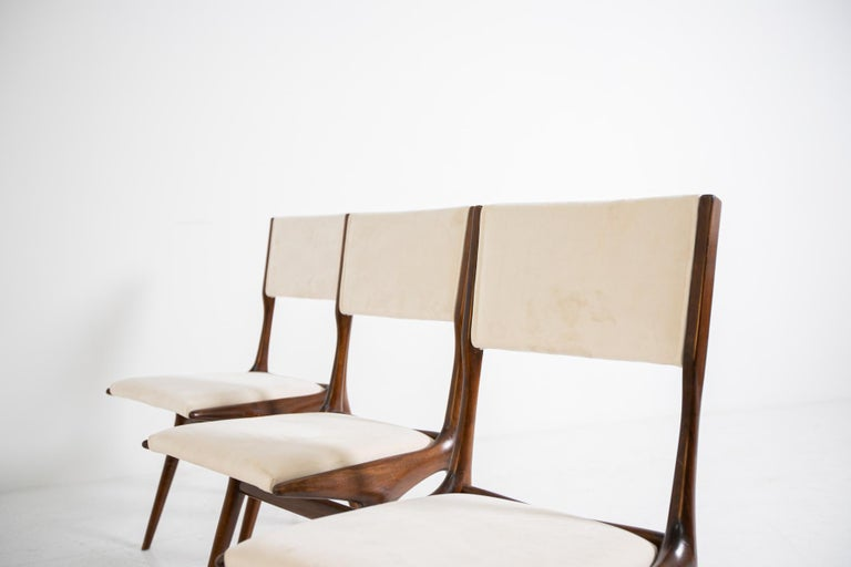 Carlo de Carli Model 158, Set of Six Dining Chairs for Cassina, 1953 For Sale 3