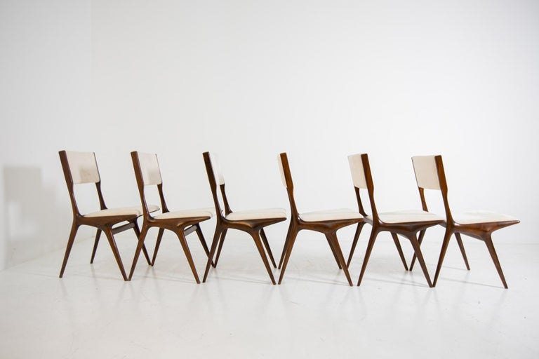 Carlo de Carli Model 158, Set of Six Dining Chairs for Cassina, 1953 For Sale 5
