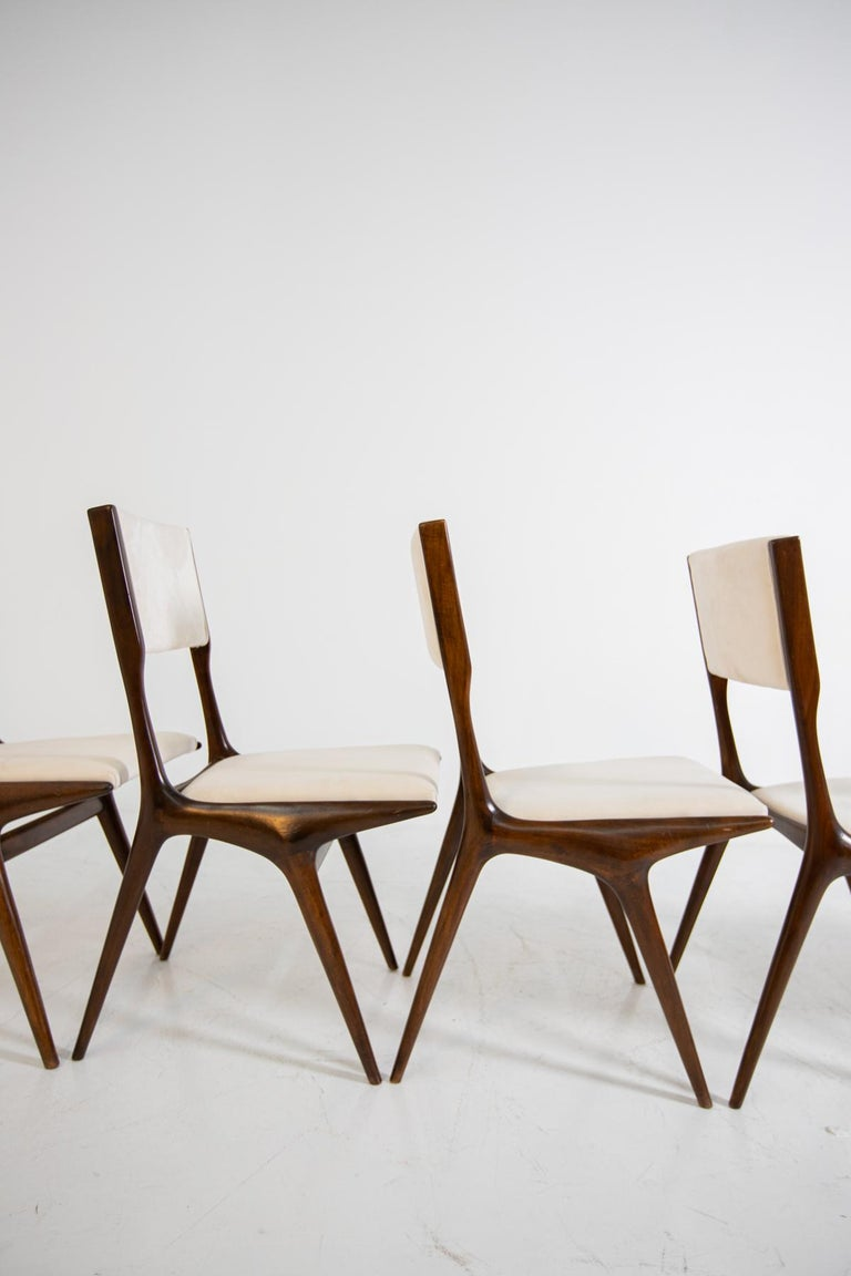 Carlo de Carli Model 158, Set of Six Dining Chairs for Cassina, 1953 For Sale 6