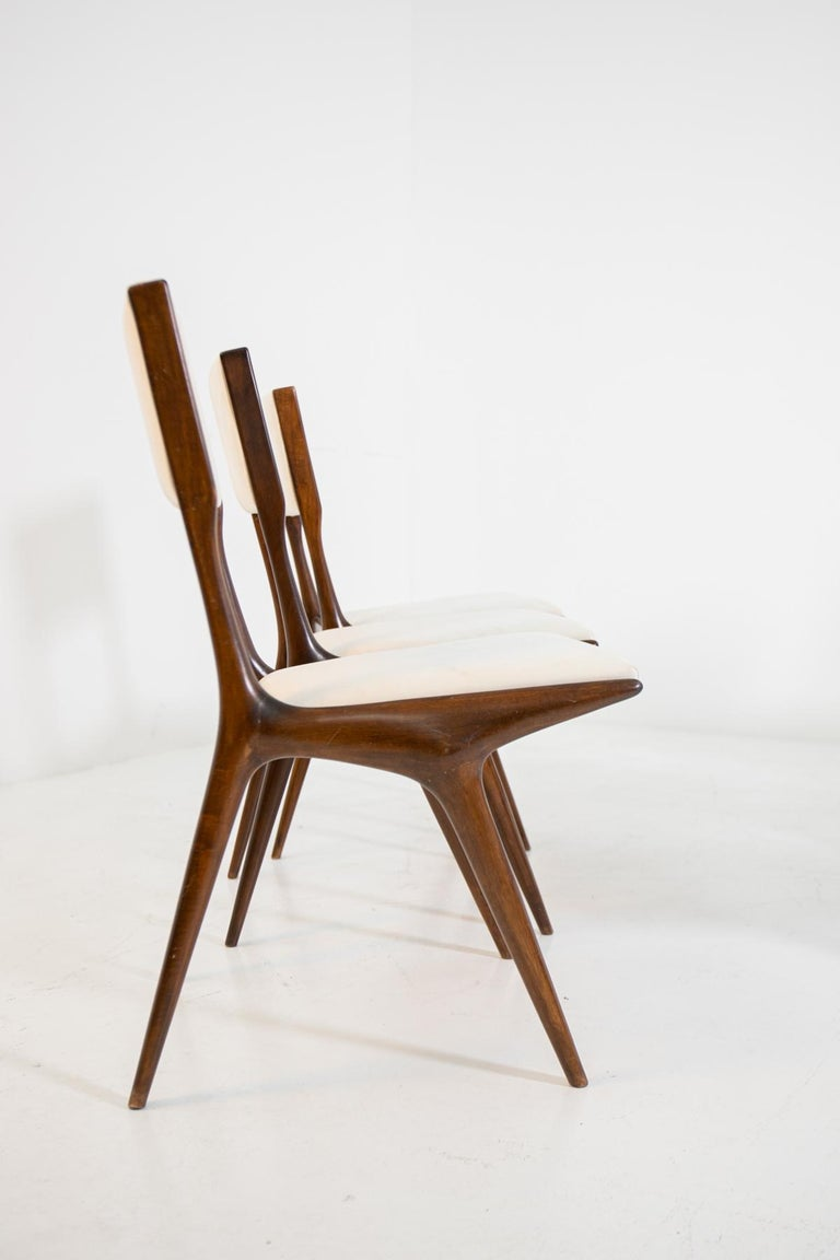 Mid-Century Modern Carlo de Carli Model 158, Set of Six Dining Chairs for Cassina, 1953 For Sale