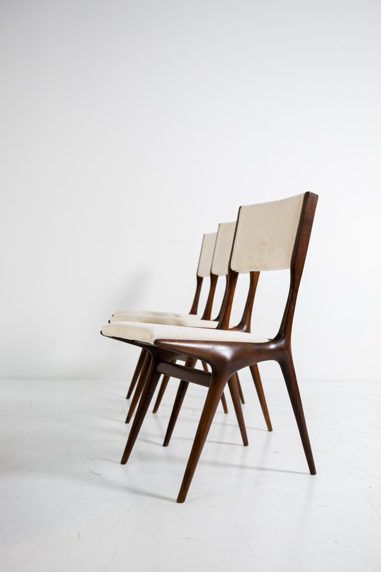 Italian Carlo de Carli Model 158, Set of Six Dining Chairs for Cassina, 1953 For Sale
