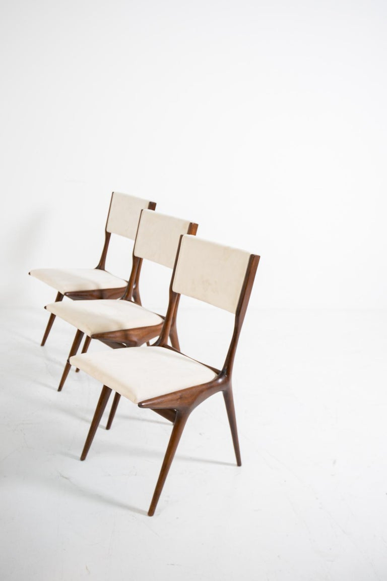 Carlo de Carli Model 158, Set of Six Dining Chairs for Cassina, 1953 In Good Condition For Sale In Milano, IT