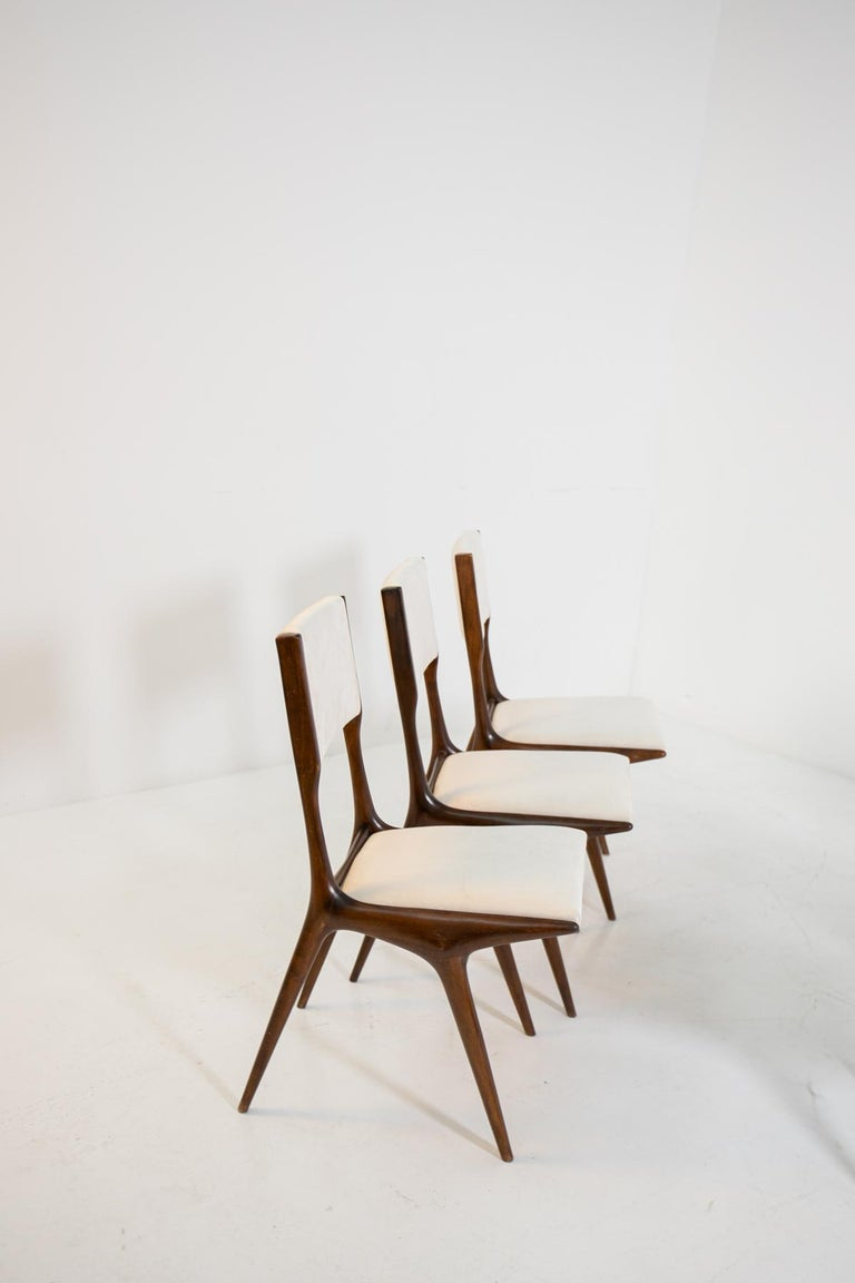 Mid-20th Century Carlo de Carli Model 158, Set of Six Dining Chairs for Cassina, 1953 For Sale