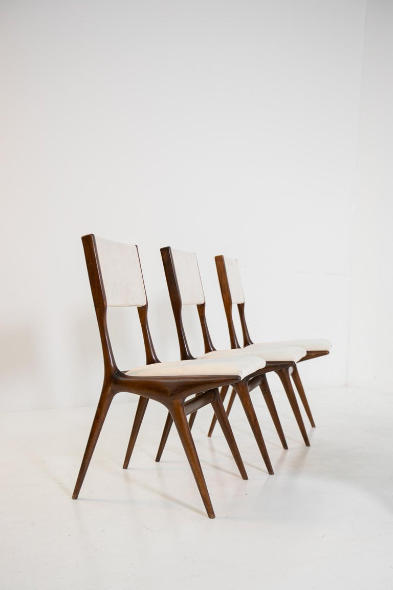 Velvet Carlo de Carli Model 158, Set of Six Dining Chairs for Cassina, 1953 For Sale