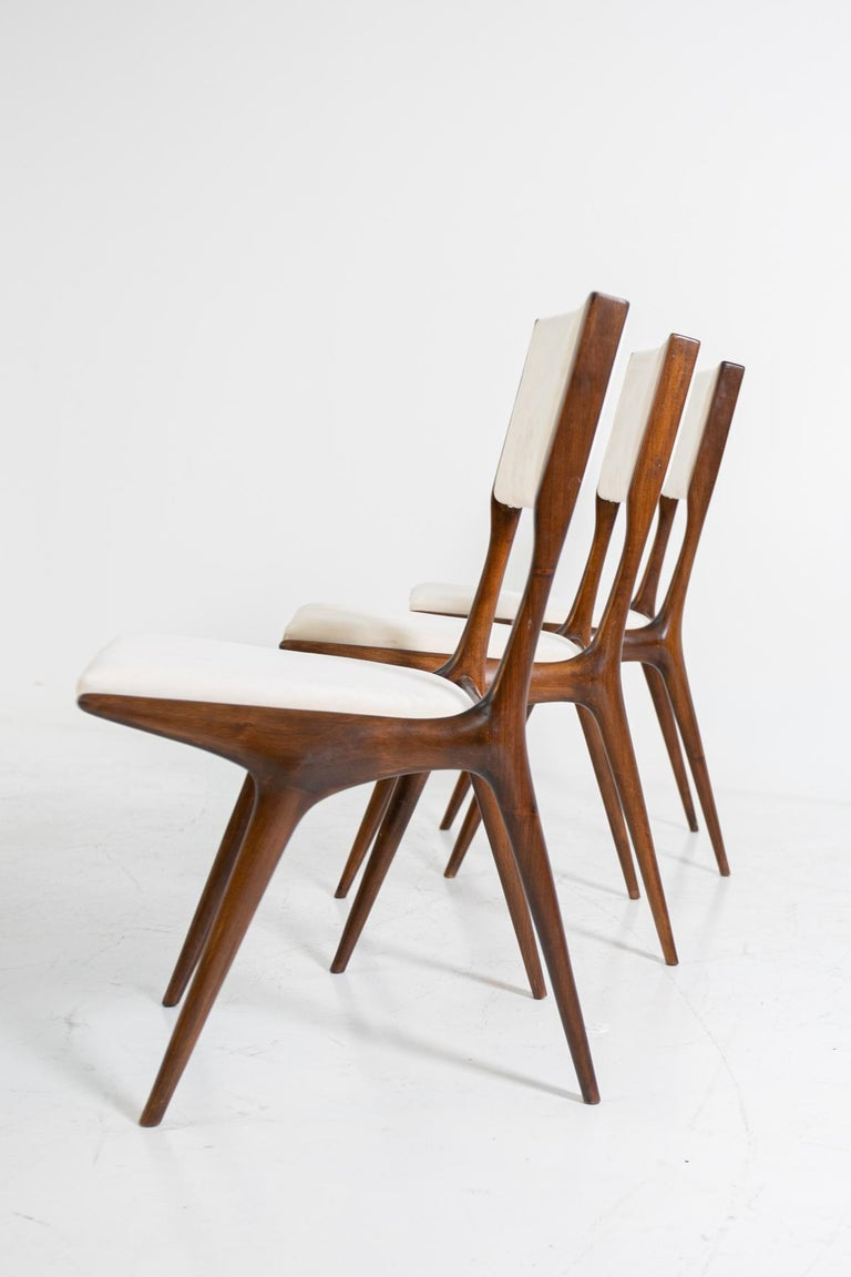 Carlo de Carli Model 158, Set of Six Dining Chairs for Cassina, 1953 For Sale 1