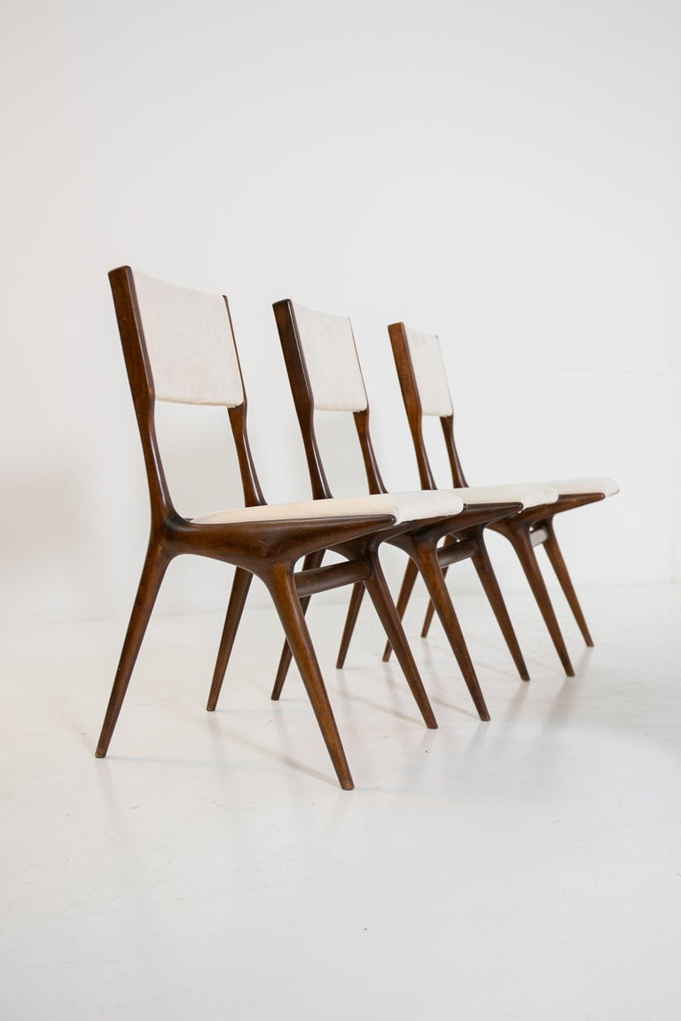 Carlo de Carli Model 158, Set of Six Dining Chairs for Cassina, 1953 For Sale 2