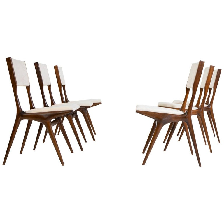 Carlo de Carli Model 158, Set of Six Dining Chairs for Cassina, 1953 For Sale