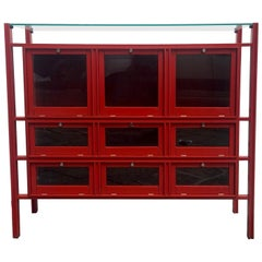 Carlo de Carli Rare Red Lacquered Wood Showcase or Credenza, Italy, 1950s