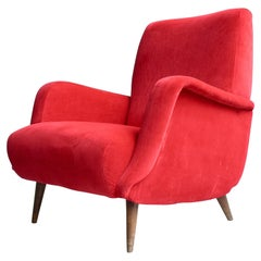 Carlo de Carli Red velvet and Walnut Armchair Model 806 by Cassina, Italy, 1955
