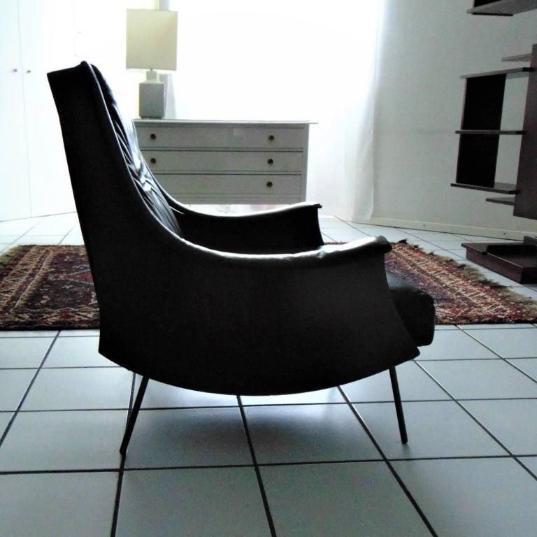 Carlo de Carli Rosewood and Black Leather Armchair