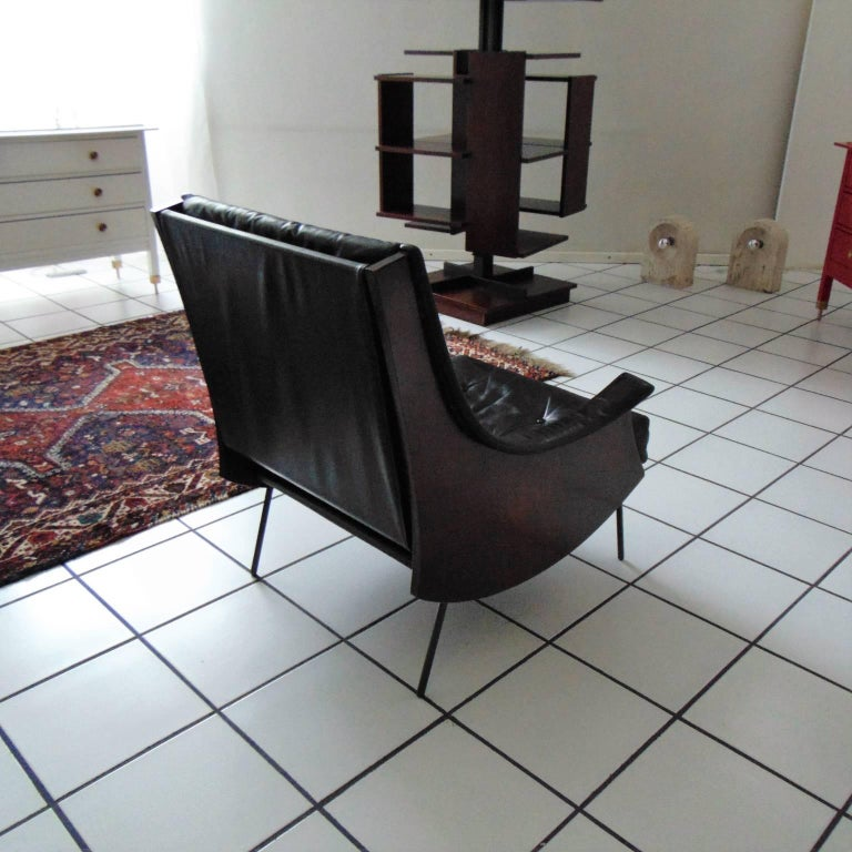 Mid-20th Century Carlo de Carli Rosewood and Black Leather Armchair