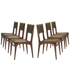 Carlo de Carli Set of Rosewood Chairs in Olive Green Upholstery