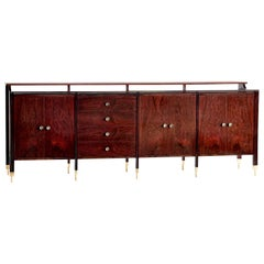 Carlo de Carli Sideboard in Rosewood and Brass for Sormani, Italy, 1964