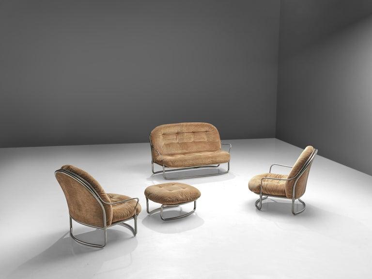 Carlo de Carli Sofa in Tubular Steel and Light Brown Fabric For Sale 4