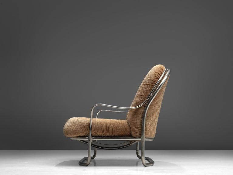 Italian Carlo de Carli Sofa in Tubular Steel and Light Brown Fabric For Sale