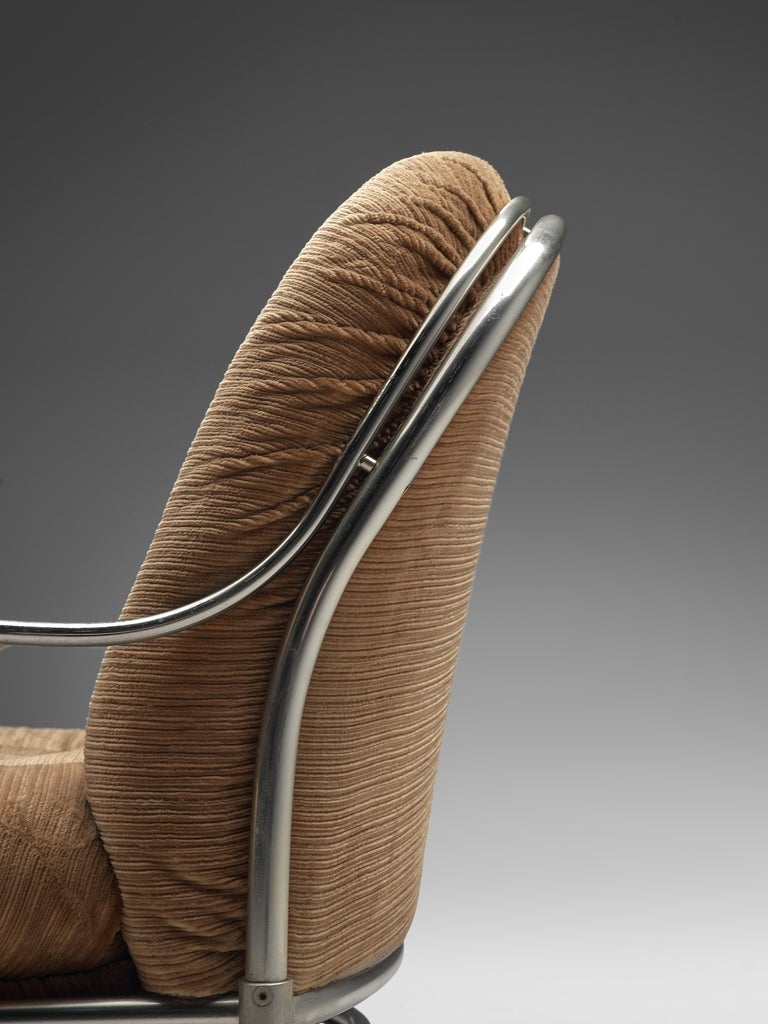 Carlo de Carli Sofa in Tubular Steel and Light Brown Fabric In Good Condition For Sale In Waalwijk, NL
