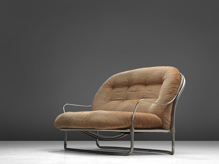 Mid-20th Century Carlo de Carli Sofa in Tubular Steel and Light Brown Fabric For Sale