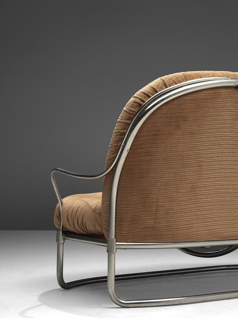 Carlo de Carli Sofa in Tubular Steel and Light Brown Fabric For Sale 1
