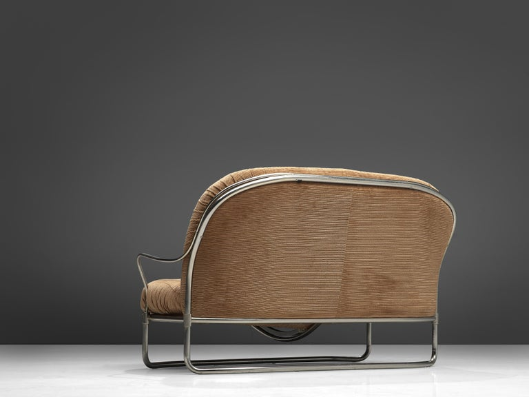 Carlo de Carli Sofa in Tubular Steel and Light Brown Fabric For Sale 2