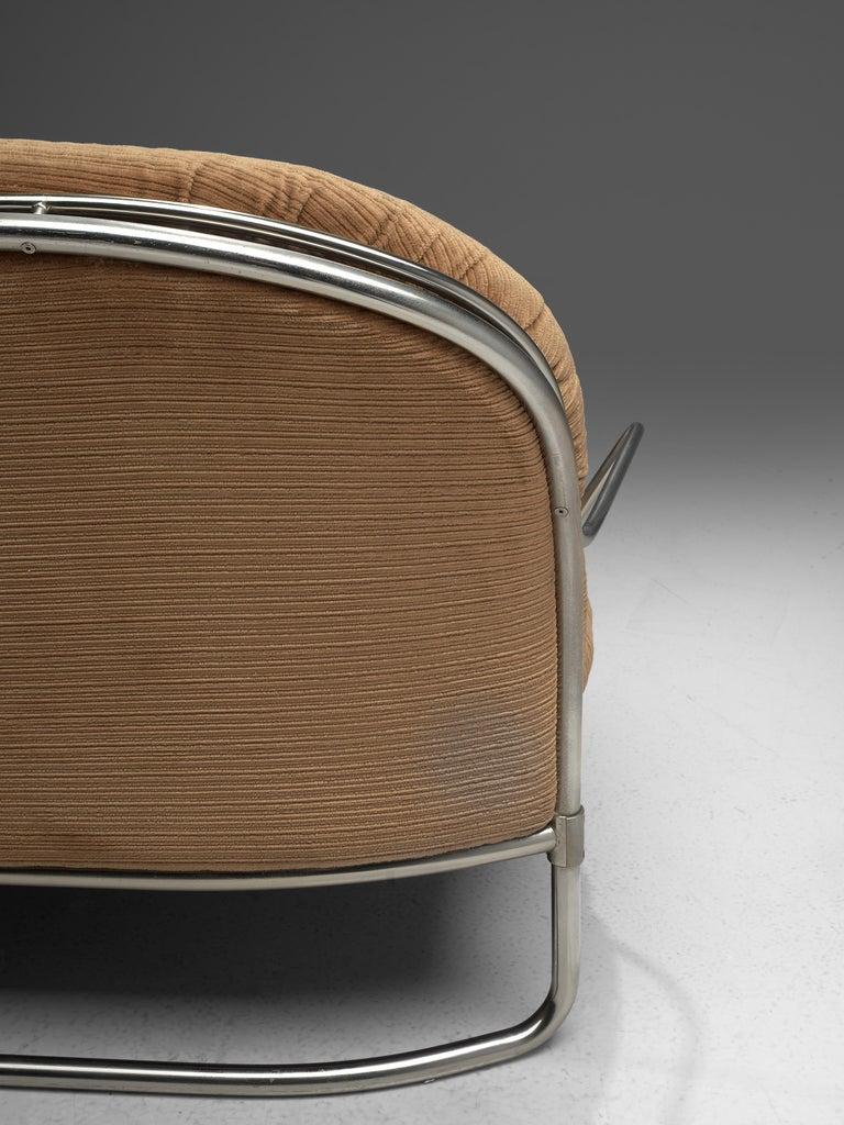 Carlo de Carli Sofa in Tubular Steel and Light Brown Fabric For Sale 3