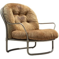 Carlo de Carli Tubular Lounge Chair with Cognac Suede Seat