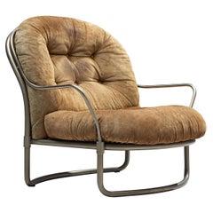 Carlo de Carli Tubular Lounge Chair with Cognac Suede Seat