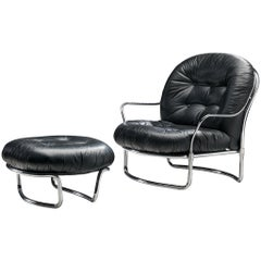Carlo de Carli Tubular Lounge Chair with Ottoman in Black Leather