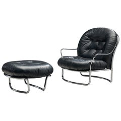 Carlo de Carli Tubular Lounge Chair with Ottoman in Black Leather