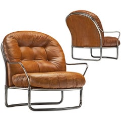 Carlo de Carli Tubular Lounge Chairs in Cognac Leather