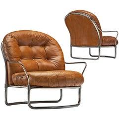 Carlo de Carli Tubular Lounge Chairs in Cognac Leather