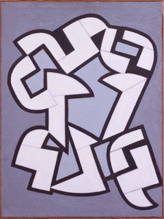1969 Belgian oil painting of abstracted forms by Carlo de Roover, grey and white